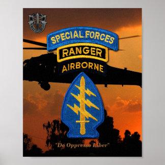 陸軍特殊部隊の緑色のベレー帽のレーンジャーSF SFG ポスター