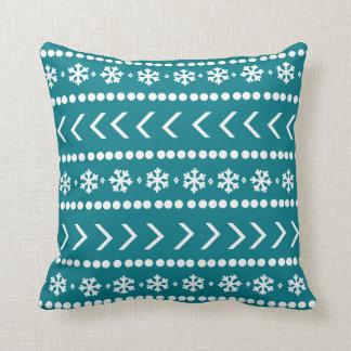 険しい雪の枕-ティール(緑がかった色) クッション