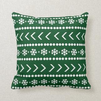 険しい雪の枕-深緑色 クッション