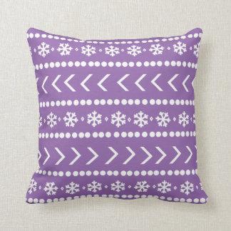 険しい雪の枕-紫色 クッション