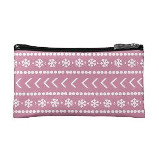 険しい雪の構造の袋-ピンク コスメティックバッグ
