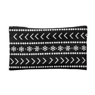 険しい雪の構造の袋-黒 コスメティックバッグ