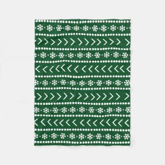 険しい雪毛布-深緑色 フリースブランケット