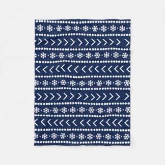 険しい雪毛布-濃紺 フリースブランケット
