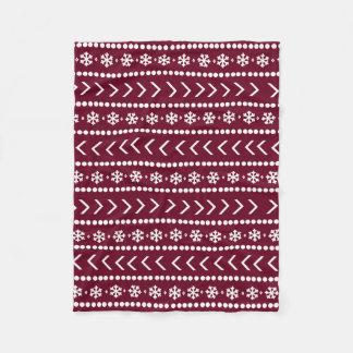 険しい雪毛布-赤 フリースブランケット
