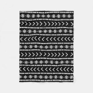 険しい雪毛布-黒 フリースブランケット