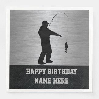険しい魚釣りの誕生日のナプキン