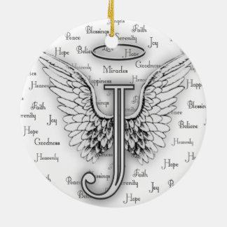 陽性が付いている天使の翼はモノグラムJを言い表わします セラミックオーナメント