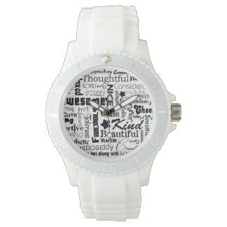 陽性はタイポグラフィを言い表わします 腕時計