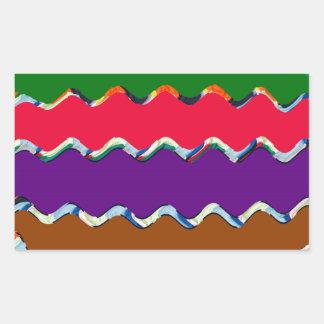 陽気でカラフルな波パターン 長方形シール