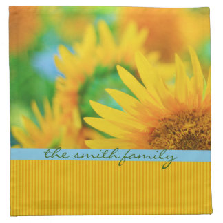 陽気で幸せで黄色いヒマワリの青いオレンジストライプ ナプキンクロス