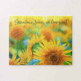 陽気で幸せで黄色いヒマワリの青緑の夏 ジグソーパズル