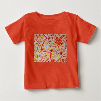 陽気で抽象的な水彩画の花柄 ベビーTシャツ