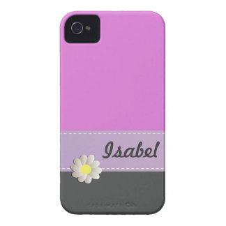 陽気で粋でかわいいデイジーのピンクの灰色のモノグラム Case-Mate iPhone 4 ケース