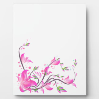 陽気で美しいピンクの花の装飾の監視 フォトプラーク