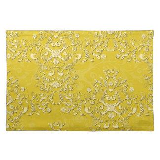 陽気で黄色い花のダマスク織 ランチョンマット