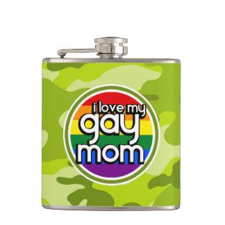 陽気なお母さん; 若草色の迷彩柄、カムフラージュ フラスク