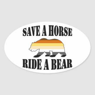 陽気なくまのプライドの保存Aの馬の乗車Aくま 楕円形シール