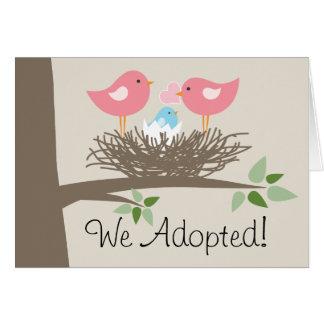 陽気なカップル-鳥の巣のための採用の発表 カード