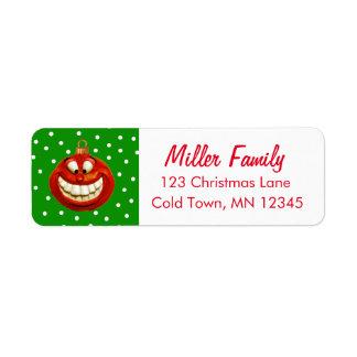 陽気なクリスマスのオーナメント 返信用宛名ラベル