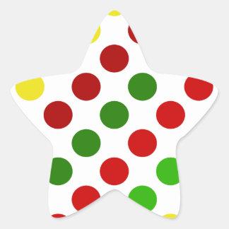 陽気なクリスマスの水玉模様のストライプ 星シール