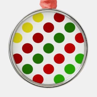 陽気なクリスマスの水玉模様は縞で飾ります メタルオーナメント