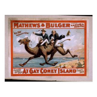 「陽気なコニーアイランド」ののMathews及びBulger、ヴィンテージのTh ポストカード