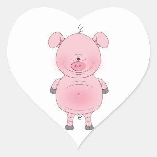 陽気なピンクのブタの漫画のステッカー ハートシール