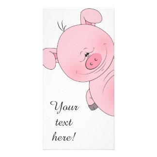 陽気なピンクのブタの漫画 カード