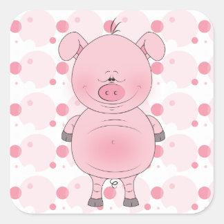 陽気なピンクのブタの漫画 スクエアシール