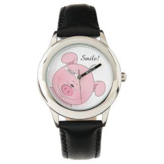 陽気なピンクのブタの漫画 腕時計