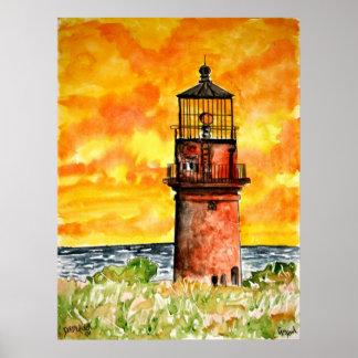 陽気なヘッド灯台marthasのブドウ園ポスター ポスター