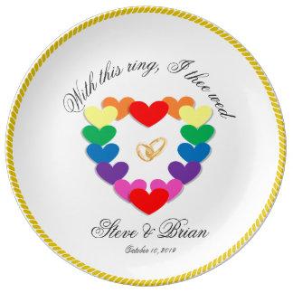 陽気なレズビアンの名前入りな結婚祝い 磁器プレート