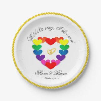 陽気なレズビアンの結婚披露宴のカスタムな紙皿 ペーパープレート