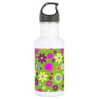 陽気なレトロのフラワーパワーの花柄デザイナー ウォーターボトル