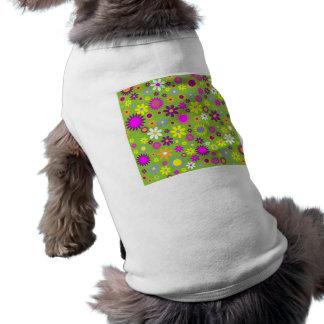 陽気なレトロのフラワーパワーの花柄デザイナー ペット服
