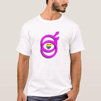 陽気なロゴおよび虹のハートのTシャツ Tシャツ