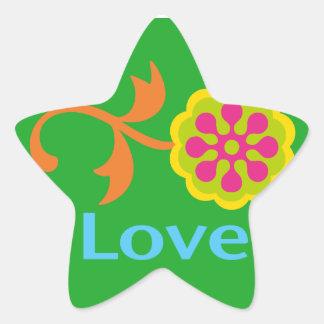 陽気な愛および花- 星シール