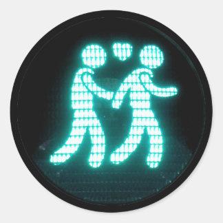 陽気な歩行者の信号のステッカー ラウンドシール