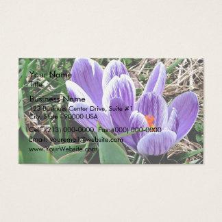 陽気な紫色のクロッカスの花 名刺