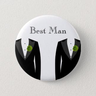 陽気な結婚式のための緑のカーネーションの花婿介添人のバッジ 5.7CM 丸型バッジ