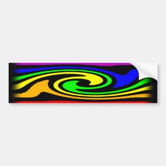 陽気な虹の渦巻 バンパーステッカー