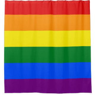 陽気な虹: 横縞で飾ります シャワーカーテン