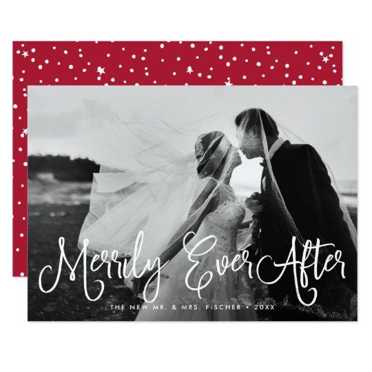 陽気にその後ずっと新婚者の休日の写真カード 12.7 X 17.8 インビテーションカード