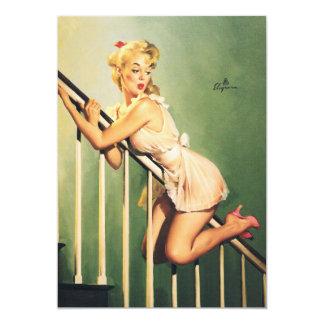 階段-レトロPin女の子の下 カード