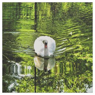 隔離された白い白鳥 ファブリック