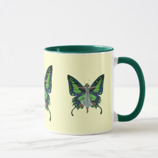 隔離される蝶翼を持つヴィンテージのフラッパー マグカップ