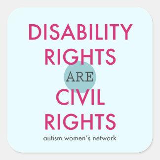 障害者権利のステッカー スクエアシール
