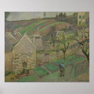 隠者の住処の山腹、Pontoise 1873年 ポスター