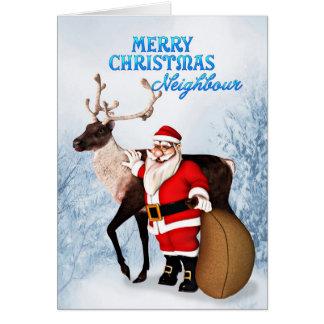 隣人のためのサンタおよびトナカイのクリスマスカード カード